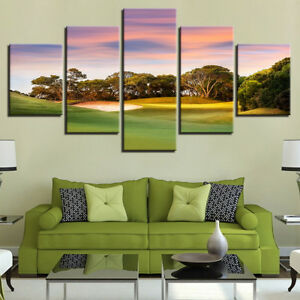 Golf Course Landscape At Sunset Nature 5 Panel Canvas Print Wall Art Home Decor