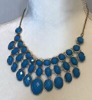 turquoise colored faceted beads statement bib Silver Tone necklace