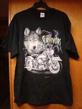 Vintage New Nos Mens Black Delta Survivors Motorcycle Wolf Tee Shirt Size Xl