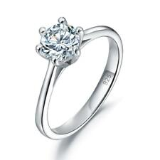 1.00Ct Round Diamond Solitaire Anniversary Engagement Ring Sterling Silver