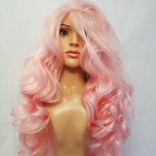 """Synthetic Lace Front Curly Hand Tied Deep Pink Wig 26"""""""