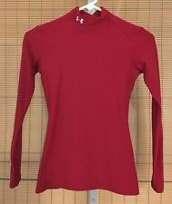 UNDER ARMOUR Womens Small Red ColdGear Original Compression Mock Shirt Vintage