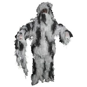 Tactical Military&Hunting Fully Covered Sniper Ghillie Set - Snow Camouflage