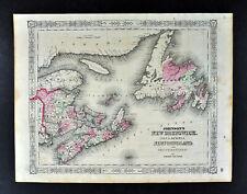 1864 Johnson Map New Brunswick Nova Scotia Newfoundland Halifax Frederickton
