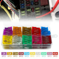 80x 12V Standard Blade Van Car Fuses 3 5 7.5 10 15 20 40 A Assorted Set + Clip