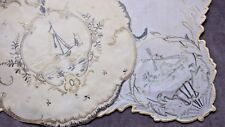 For Society Silk Collector: ca 1896 Two Doilies Delft Motifs, With Documentation