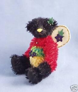 "DEB CANHAM  ""JULY  FAIRY  BEAR"" BLACK  MOHAIR BEAR 3 3/4"""