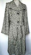 South Ladies 70s Style Wool Mix Coat UK 16 Grey Tweed Long Wrap Flare Pockets