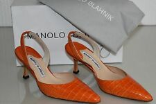 $5400 NEW Manolo  Blahnik CAROLYNE 70 Orange ALLIGATOR CROCODILE SHOES 36
