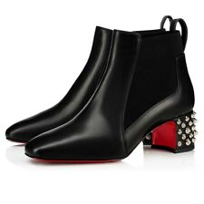 Christian Louboutin Study 55 Black Leather Silver Spike Block Heel Ankle Boot 40