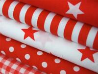 RED WHITE stars spots stripes check 100% COTTON FABRIC for dress craft bunting