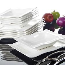 Malacasa Mario 12-Piece Porcelain Dinner Set Kitchen Ceramic Soup Dinner Plates