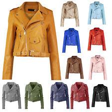 New Womens Faux Leather Biker Belted Zip Front Crop Length PU Ladies Jacket Coat
