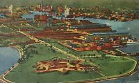 1930-1945 Linen Postcard Aerial View Fort McHenry Baltimore MD