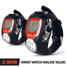 Pair 2-Way Microphone Walkie Talkie Radio Digital Wrist Watch Voice Communicator