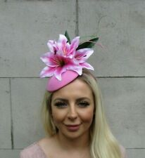 Light Pink Green Lily Flower Leaves Feather Hat Fascinator Hair Floral Lime 0667