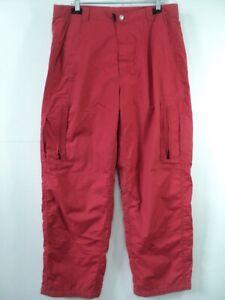 Oakley Software Men Ripstop Nylon Mesh lined Rain snow pants Red sz XL (36 x 33)