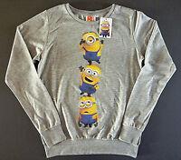 Minions Damen Sweatshirt Pullover 34 XS Langarm Shirt Pulli Grau Witzig Bedruckt