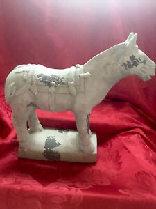 """FLAWLESS Stunning ANTIQUE RUSTIC WEATHER LOOK Dynasty TROJAN HORSE 12"""" Figurine"""