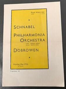 1946 Schnabel Dobrowen Philharmonia Orchestra Concert Program Royal Albert Hall