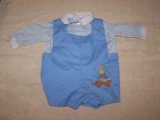 Vintage Baby 2 Piece Light Blue/White Rabbit Design Rumper/Top (For Large Doll)