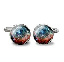 Red Nebula Space Universe Galaxy Cufflinks Cuff Links Gift Executive Shirt Mens