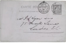 FRANCE POST CARD 22/1/1890 PARIS-LONDON;HOODED RECEIVED; SLIGHT BENDS & SCUFFS.