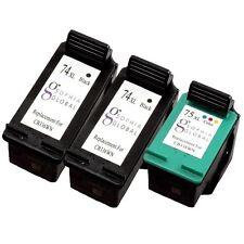 3 Pack Ink Cartridge for HP 74XL 75XL Photosmart C4435 C4440 C4450 C4470 C4473