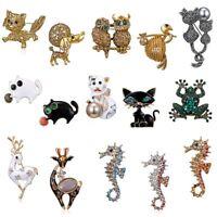 Crystal Rhinestone Cat Seahorse Animal Brooch Pin Collar Women Jewelry Costume
