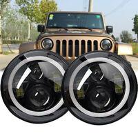 "2X 7"" inch Round LED Halo Headlight Hi/Lo DRL Beam for Jeep Wrangler JK LJ TJ CJ"