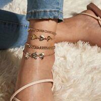 4pcs/set Boho Heart Butterfly Anklet Foot Sandals Bohemia Bracelet Beach Women