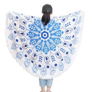 Round Beach Towel Floral Blue & White Tassel 150 cm 100% Cotton-Best Gift!!