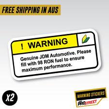 WARNING 98 FUEL x2 JDM CAR STICKER DECAL Drift Turbo Euro Fast Vinyl #0610