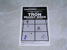 Tron Deadly Discs manual -great shape- Intellivision & Intv - #1