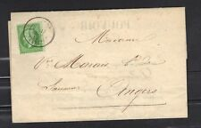 NAPOLEON  N°20  5 c vert 1869 Cad angers   LETTRE COVER+ courrier