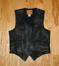 USA Classics Black Leather Vest Size XS Snap Button Perforated