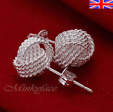 Silver 925 Sterling Stud Earrings Twisted Knot Butterfly Free Gift Bag