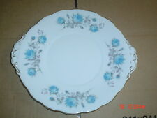 Very Pretty Roslyn Fine China Cake Plate Blue Rose And Grey Leaves 1950's?