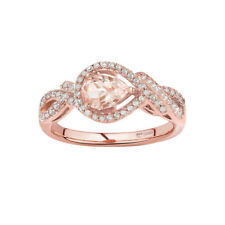 Natural Pink Morganite and Diamond  Twisted Rose Gold Cocktail Ring