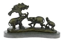 Gorgeous Bronze Elephant Figurine Sculpture Statue Art African Signed Barye