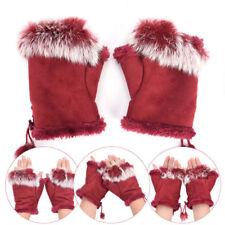Women's Wrist Winter Rabbit Fur Hand Fingerless Gloves Mittens Half Finger Glove