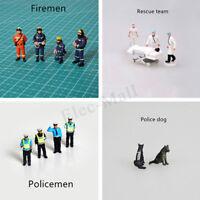 1:64 Figure Rescue Team Doctor Policemen Firemen Dog Scenario Model Toy Set