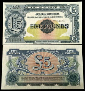 Great Britain / UK British Armed Forces 5 Pounds Banknote World Paper Money UNC