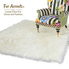 Thick White Shag Rug, Quality Faux Fur, Sheepskin,Rectangle Throw Rug, Soft, USA