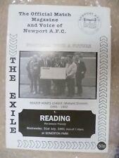 1991 Newport AFC V lectura, Julio 31st (pre-seasion amigable Match)
