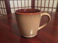 "(4) Sango Nova Brown Stoneware 4"" Height 3.5"" Diameter Replacement Mugs #4933"