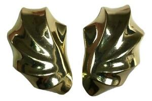 Vintage Estate Chunky Mid Century Modernist Shell 14K Gold Post w/ Clip Earrings