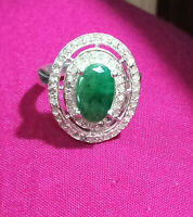 Details about  /925 Sterilng Silver Jewelry Slice Diamond Emerald Gems Dainty Stackable Ring