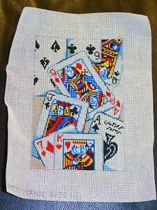 """Patti Mann DECK OF PLAYING CARDS Handpainted Needlepoint Canvas 18 mesh 5"""" x 7"""""""
