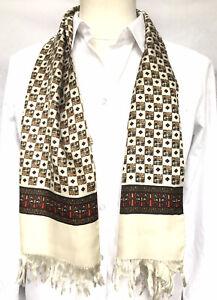 Mens Vintage SILK Scarf Paisley Retro Cravat 70's Gents Necktie Fringed SILK